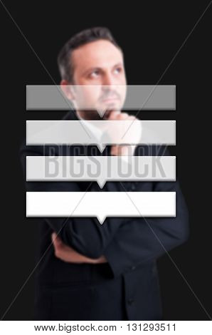 Business Man Thinking With Blank Buttons And Text Area