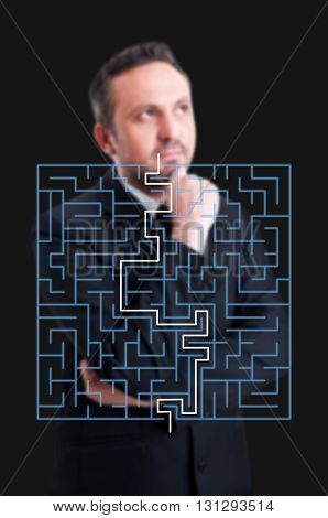 Successful Business Manager Thinking To Find Fastest Path In Maze