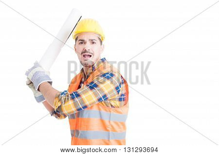 Aggressive Engineer Concept With Furious Young Male Fighting And Yelling