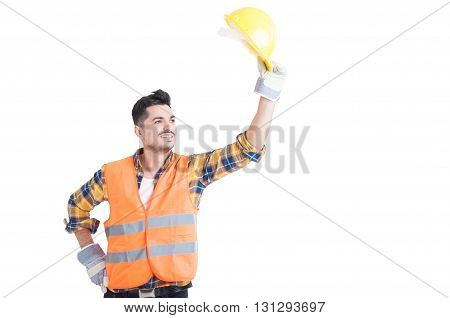 Portrait Of Handsome Constructor Or Engineer Raise His Helmet Up