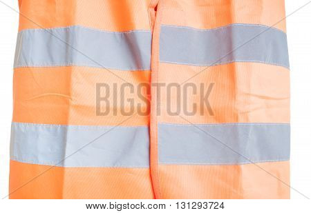 Close-up Of Orange Reflective Vest As Part Of Protection Uniform