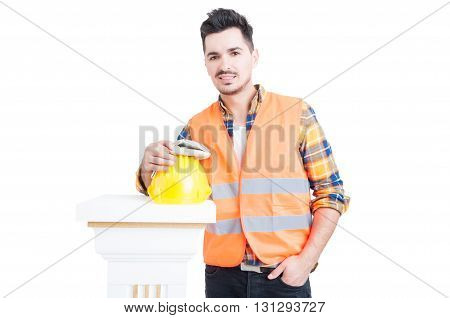 Handsome Constructor Or Engineer Standing Near Workwear Equipment And Smile