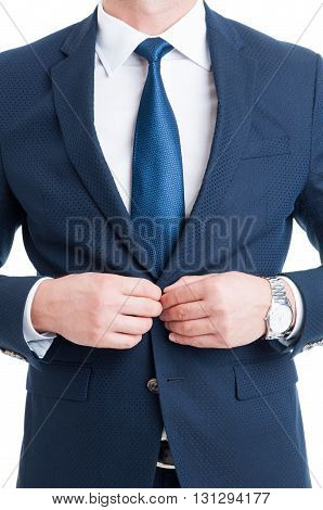 Salesman Or Lawyer Closing His Elegant Blue Suit Jacket