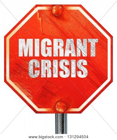 migrant crisis, 3D rendering, a red stop sign