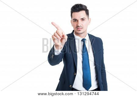 Sales Man Making Refuse Or Deny Gesture