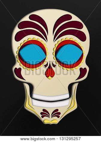 Paper style sugar scull on black. Halloween background.