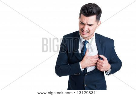 Salesman Or Businessman Feeling Chest Pain As Heart Attack Concept
