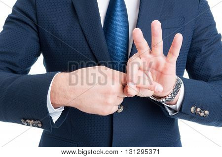 Suited Man Making Sexual Finger In The Hole Gesture