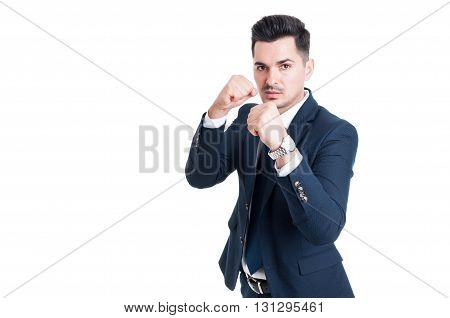 Powerful Businessman Or Salesman With Fists Ready
