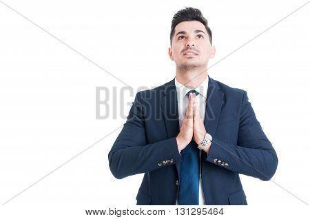 Salesman Banker Or Broker Making Pray Gesture With Palms