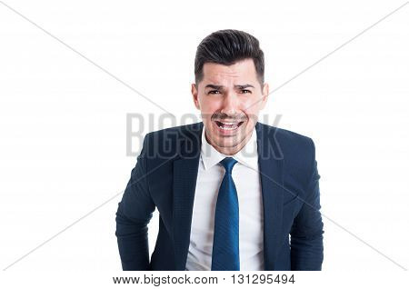 Banker Boss Or Financial Manager Yelling And Shouting Angry