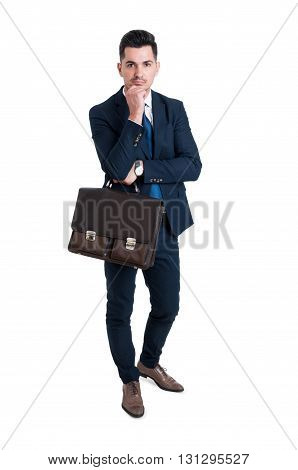Handsome And Young Salesman Standing Isolated On White Background