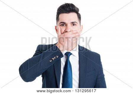 Lawyer Or Broker Covering His Mouth With Palm