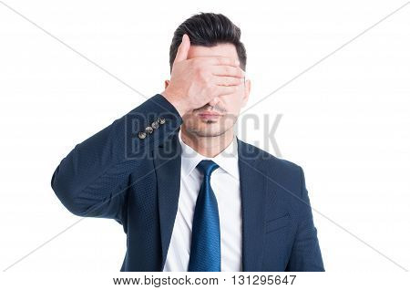 Lawyer Or Broker Covering His Eyes With Palm