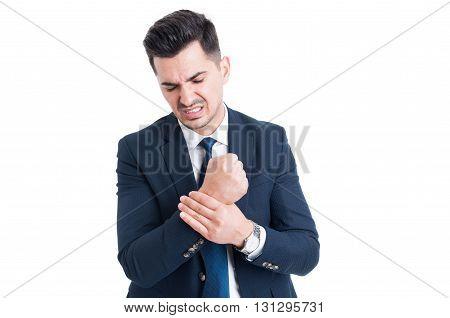 Injured Businessman Suffering Of Hand Wrist Pain