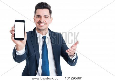 Business, Success And Technology Concept With Businessman Showing Smartphone