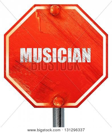 musician, 3D rendering, a red stop sign