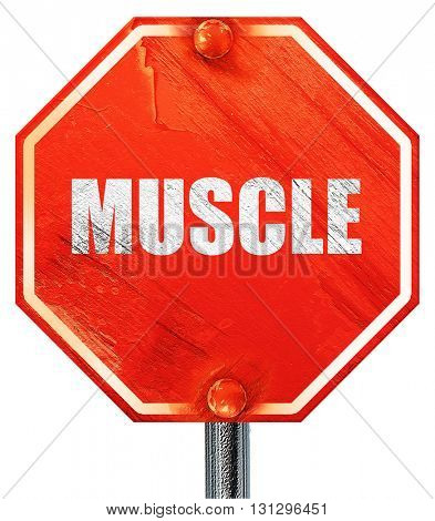muscle, 3D rendering, a red stop sign
