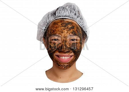 herbal skin care. Woman getting facial mask isolated. girl doing face mask at home