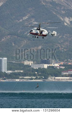 Gelendzhik Russia - September 9 2010: Kamov Ka-32 rescue helicopter in flight during the training operation
