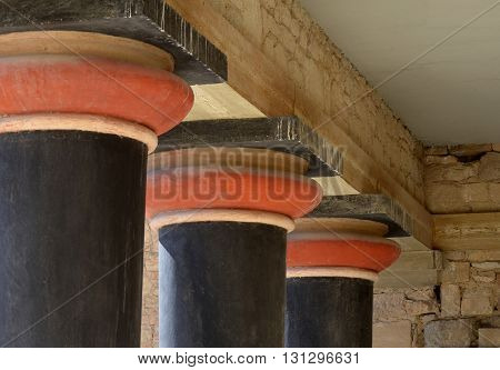 Columns at Knossos Archaeological Site, Crete, Greece