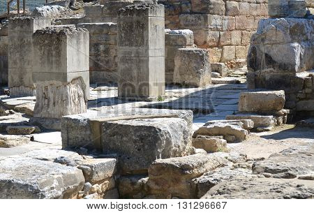 Ruins at Archeological SIte of Knossos Palace in Crete, Greece