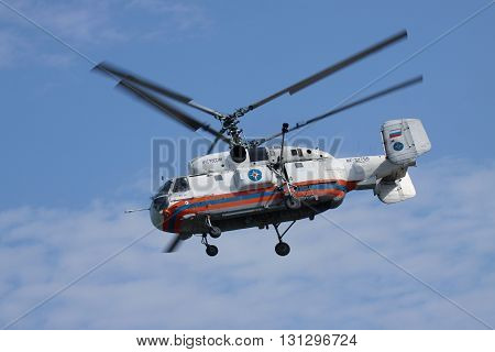 Gelendzhik Russia - September 9 2010: Kamov Ka-32 rescue helicopter in flight on a sunny day