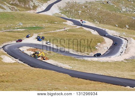 Tourist traffic and on going works onTransalpina road, Parang mountains, Southern Carpathians, Romania