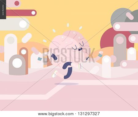 Running brain on pink and yellow landscape illustrated vector banner - rounded colorful shapes abstract scenery on pink and yellow background and a brain wearing a training suit running outside