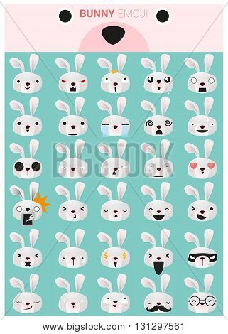 Cute little bunny emoji icons, vector, illustration