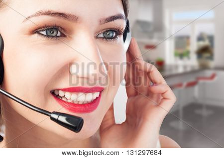 Closeup Of Beautiful Young Smiling Woman With Headset