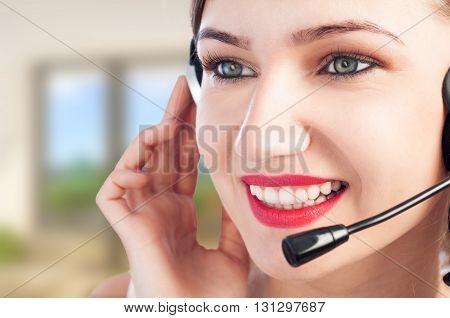 Portrait Of Beautiful Happy Customer Representative At Office