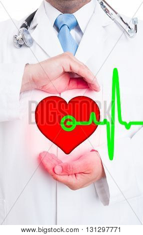 Modern Medical Technology With Professional Medic Showing Heart And Pulse