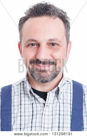 Close-up Portrait Of Cheerful Mechanic Standing And Smiling