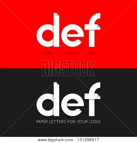 letter D E F logo paper set background 10 eps
