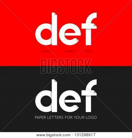 letter D E F logo paper set background 10 eps