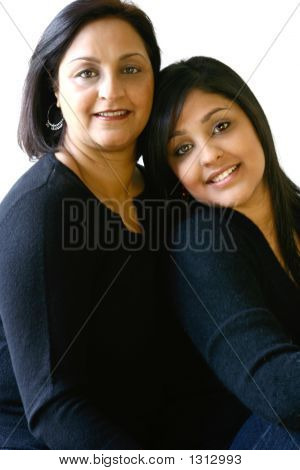 Portrait Of An Asian Mother And Her Beautiful Daughter