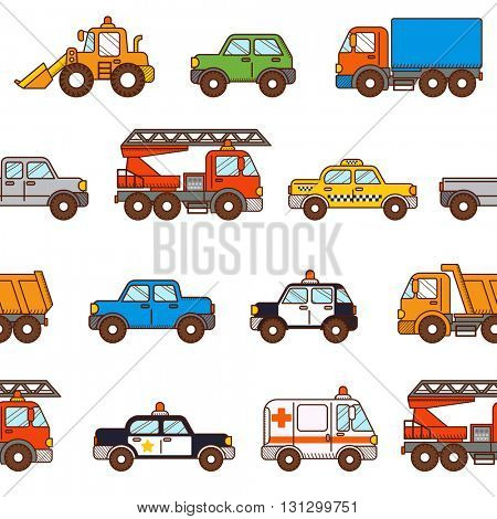 Seamless pattern cars isolated on white background in cartoon style. Can be used for children wallpapers, web site background or wrapping paper
