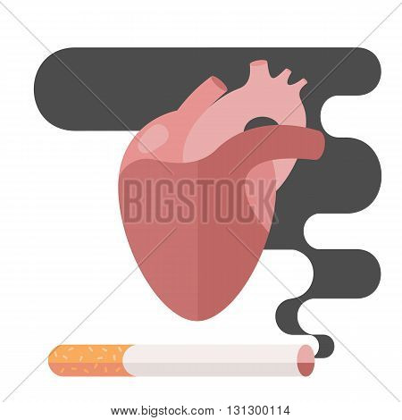 Icons about smoking, illustration flat, the dangers of smoking, health problems due to smoking, human heart, nicotine dangerous, danger to life and limb due to nicotine