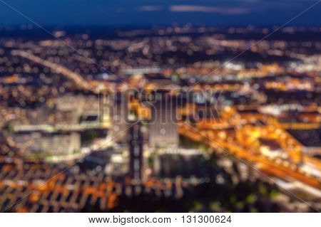 Blurred defocused city view at night background