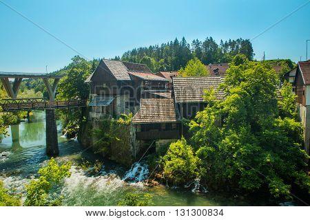 Brigdes over Korana river in Rastoke near Slunj, Croatia, rural landscape