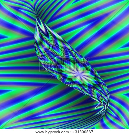 Blue and green striped fractal with twisted ribbon effect in the center