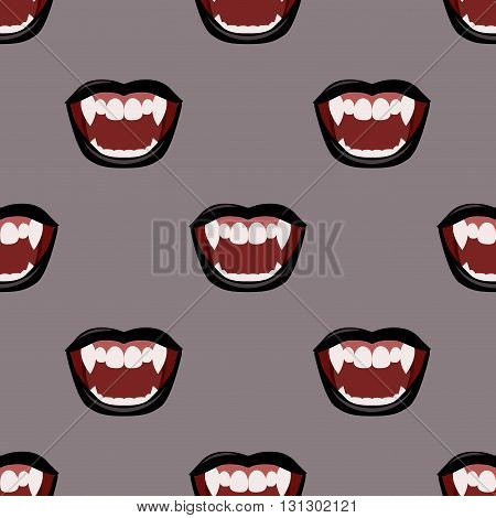 Vampire mouth with black lipstick. Seamless vector pattern