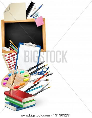 little blackboard border with notepad sheets color pencils pens rulerart palette pile of books. school vertical background