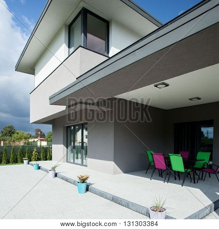 View of terrace in a luxurious house