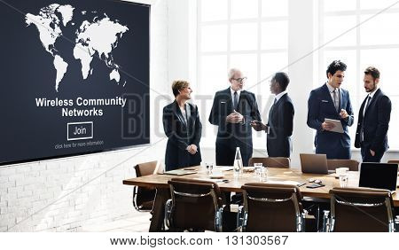 Wireless Community Network Connection Communication Concept