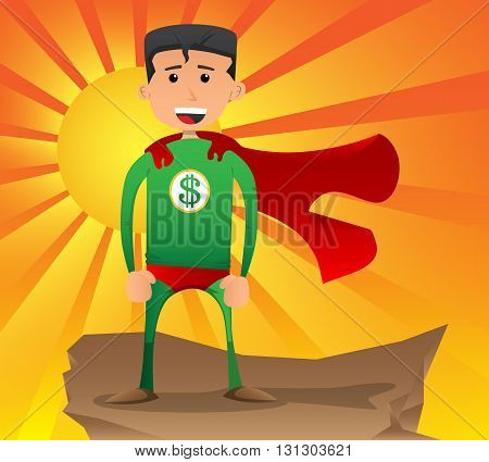 Vector illustrated dollar hero cartoon character standing on a rock.