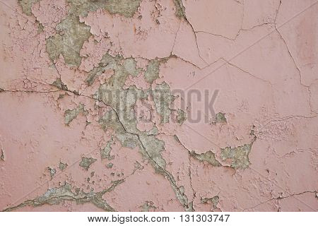 peeling paint on exterior wall grunge background