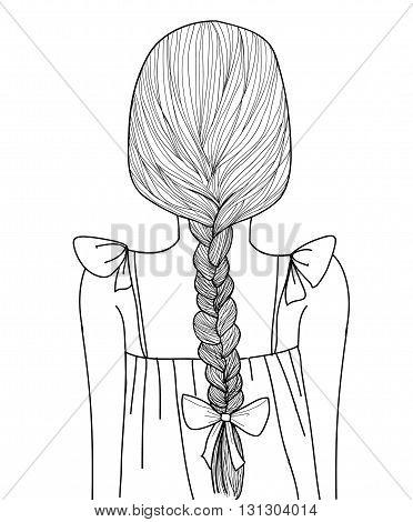 Sketch Style Cute Girl Braid