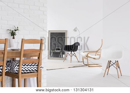 White Space With Minimalist Furniture